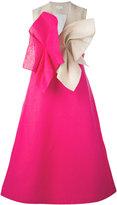 DELPOZO contrast twist effect dress - women - Linen/Flax - 38