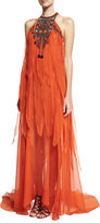Roberto Cavalli Beaded Halter Chiffon Fringe Gown, Orange