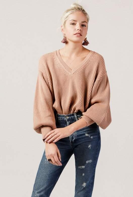 Azalea V-Neck Balloon Sleeve Sweater