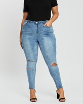 Poetic Justice Plus Size Women's Curvy Fit Blue Denim Destroyed Skinny Jeans