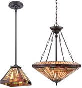 Quoizel Stephen Tiffany-Style Pendant Light in Vintage Bronze