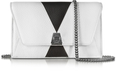Akris Anouk Color Block Pebbled Leather Clutch w/Chain