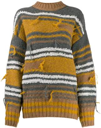 M Missoni striped distressed jumper