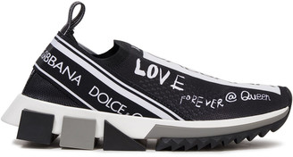 Dolce & Gabbana Monogram-trimmed Printed Stretch-knit Sneakers