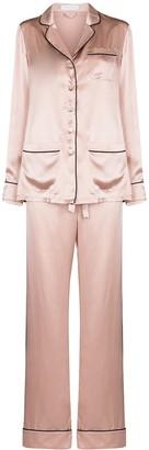 Olivia von Halle Contrast Trim Silk Pajama Set