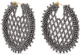 Oscar de la Renta Beaded Earrings - Silver