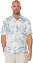 Cubavera 100% Linen Short Sleeve Dobby Stripe Reverse Print Shirt