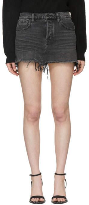 Alexander Wang Grey Aged Denim Skirt
