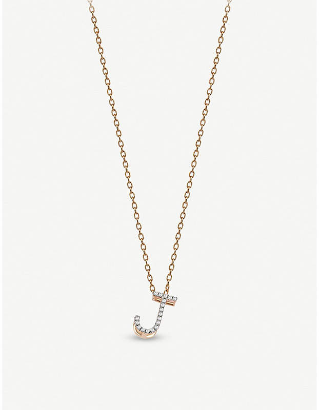 Rosegold The Alkemistry Kismet by Milka J initial 14ct rose-gold and diamond necklace