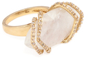 Maiyet 18K Yellow Gold, Moonstone & 10.70 Total Ct. Diamond Ribcage Cocktail Ring