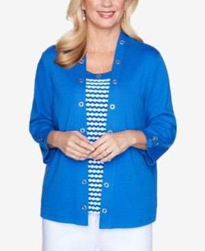 Alfred Dunner Grommet Trim Two-For-One Three-Quarter Sleeve Knit Top