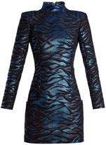 Balmain High-neck animal-jacquard mini dress
