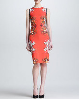 Roberto Cavalli Painted Print Back-Contrast Sheath Dress, Coral