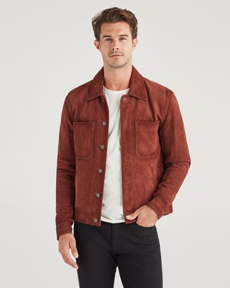 7 For All Mankind Suede Trucker Jacket in Cognac