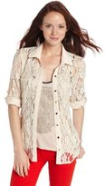 My Michelle Juniors Button Up Lace Top