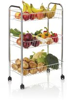 Kitchen Craft Chrome Plated Three Tier Trolley by