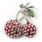 Avalaya Clear Crystal Double Cherry Fashion Brooch