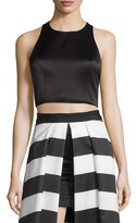 Alice + Olivia Tru Sleeveless Structured Crop Top, Black
