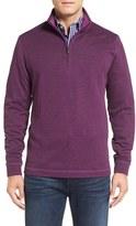Bugatchi Men's Stripe Mock Neck Quarter Zip Pullover Sweater