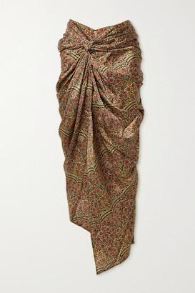 KHAITE Louie Draped Floral-print Twill Midi Skirt - Gold