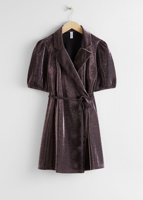 And other stories Belted Glitter Mini Wrap Dress