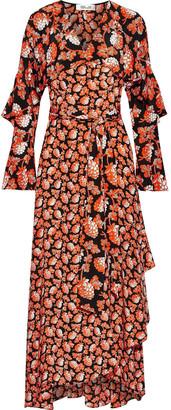 Diane von Furstenberg Alice Lace-paneled Floral-print Chiffon And Silk Crepe De Chine Midi Wrap Dress