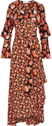 Diane von Furstenberg Alice Ruffled Printed Silk Crepe De Chine Maxi Wrap Dress