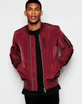 Asos Bomber Jacket With MA1 Pocket In Burgundy