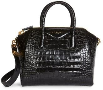 Givenchy Small Antigona Croc-Embossed Leather Satchel