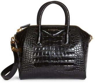 Givenchy Small Antigona Croc-Embossed Leather Satchel