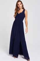 Little Mistress Raisa Navy Lace Back Maxi Dress