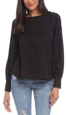 Karen Kane Jacquard Blouson-Sleeve Top