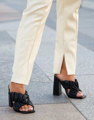Ego x Molly-Mae Larchmont ruched block heeled mules in black