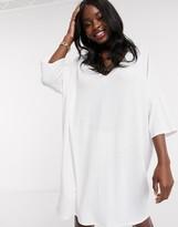 Asos Design DESIGN oversized v neck t-shirt dress in white