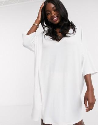 ASOS DESIGN oversized v neck t-shirt dress in white