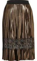 River Island Womens Gold metallic pleated lace midi skirt