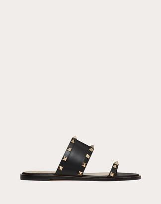 Valentino Rockstud Flat Calfskin Slide Sandal Women Saddle Brown 100% Pelle Di Vitello - Bos Taurus 38