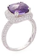 Rina Limor Fine Jewelry 18K White Gold, Amethyst & 1.22 Total Ct. Diamond Halo Ring
