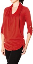 Satva Devi Draped Sweater - Organic Cotton, 3/4 Sleeve (For Women)