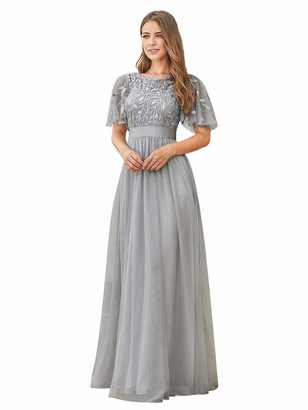 Ever Pretty Ever-Pretty Women's Short Sleeve Embroidery Empire Waist A Line Floor Length Elegant Long Ball Evening Gowns Dresses Grey 20UK
