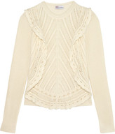 RED Valentino Crochet-trimmed Ruffled Open-knit Sweater - Cream