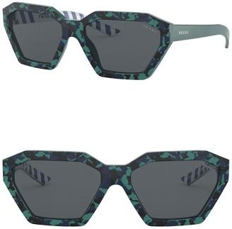 Prada Irregular 57mm Square Sunglasses
