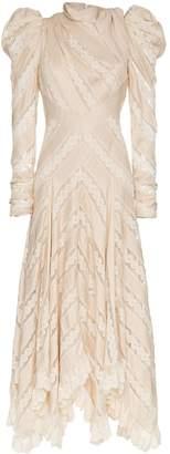 Zimmermann unbridled chevron panel silk dress