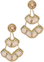 Saachi Blush Leather Crystal Drop Earrings