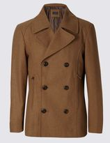 Marks and Spencer Tailored Fit Peacoat with Wool