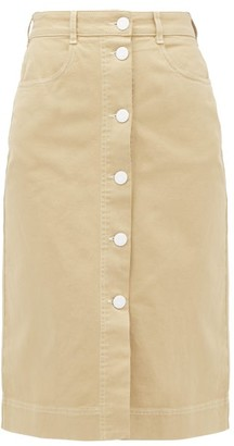 See by Chloe Buttoned High-rise Brushed-cotton Skirt - Beige