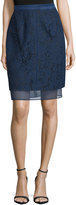 J. Mendel Lace Overlay Pencil Skirt, Marine