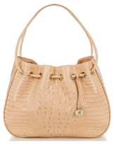 Brahmin Amy Embossed Leather Drawstring Bucket Bag - Orange