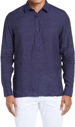 HUGO BOSS Ferran Slim Fit Woven Linen Long Sleeve Polo