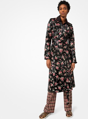 Michael Kors Floral Plonge Leather Trench Coat